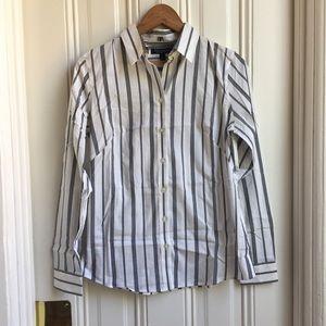 Banana Republic Grey Pinstripe Button Down Shirt